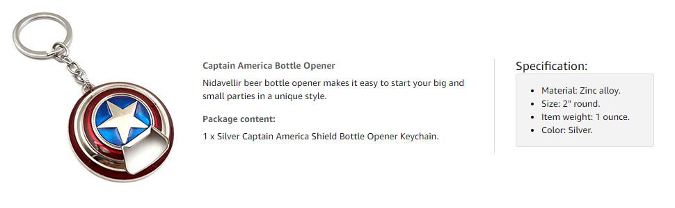 captain america shield bottle opener keychain for men