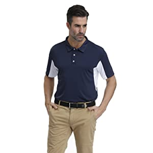 Mens Sports Polo Shirt Cool Dry Fit Sweat Wicking Golf Polo T Shirts -Short Sleeve Buttons Down