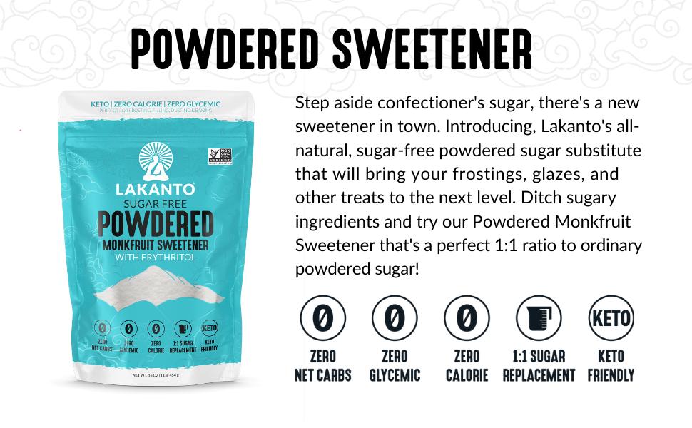 monkfruit, monk fruit, powdered sugar, powdered sweetener, confectioner's sugar, baking, frosting