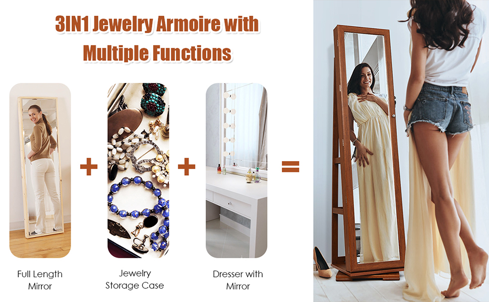 Standing Lockable Jewelry Cabinet Organizer with Large Storage Capacity