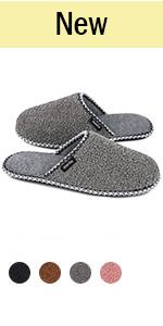 HomeTop Women's Fuzzy Curly Fur Memory Foam Slippers
