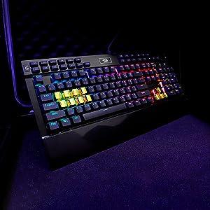 Redragon K550-SPS YAMA, Teclado Mecánico Gamer, RGB, Aluminio, Rueda de volumen, reposamuñecas, Puerto USB, 12 Teclas Configurables, Distribución ...