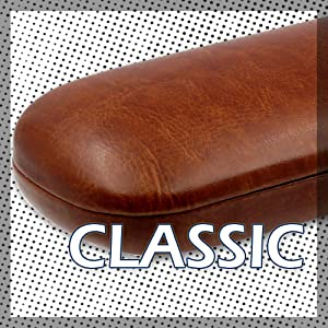 Brown hard eyeglass case for men women glasses case classic smooth microfiber pouch cleaning cloth