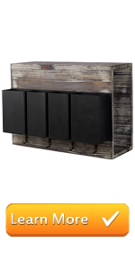 torched wood black metal bins wall mounted entryway shelf mail storage key hooks organizer