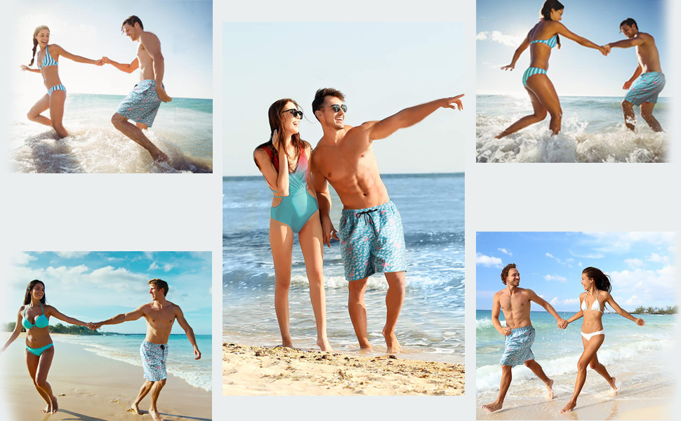 mens flamingo swim trunks,swimming with your lover, walking on the beach or on vacation