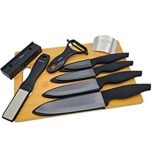 bamboo cutting board finger guard ceramic knife sharpener ceramic kitchen knife set bundle
