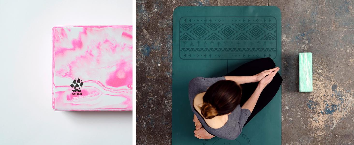 Yogi Bare Non Slip Foam Yoga Block - Improves Support and Balance - Latex Free