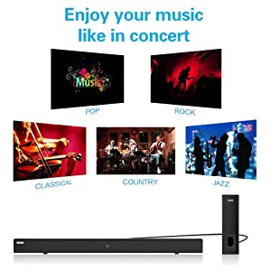 soundbar Multiple wireless wired connections connect sound bar Bluetooth 4.2 audio cable RCA optical