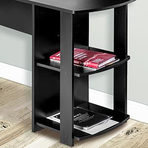 L Shaped Computer Desk 2 Tier Storage Shelves