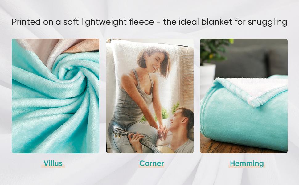 PET MEMORY Personalized VELVETEEN FLEECE Blanket Throw Custom Photo 1 or 2 SIDED
