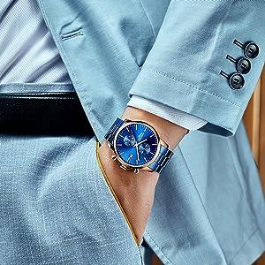 Rose gold blue watch