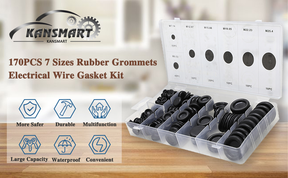 170pcs/>  Rubber Grommet Firewall Hole Plug Electrical Wire Gasket  Trusty☆☆#^/&