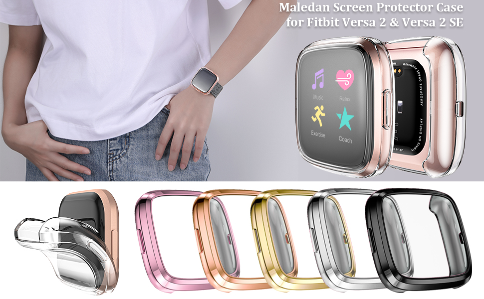 Maledan for Fitbit Versa 2 screen protector case, 6 colors