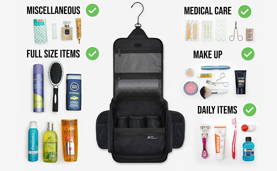 Full size toiletries, Makeup, cosmetics, shaving gear, oral hygiene, make up bag, toiletries bag