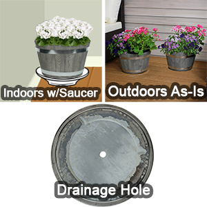 Outdoor traditional modern fiber clay pottery sturdy flower pot planter set features