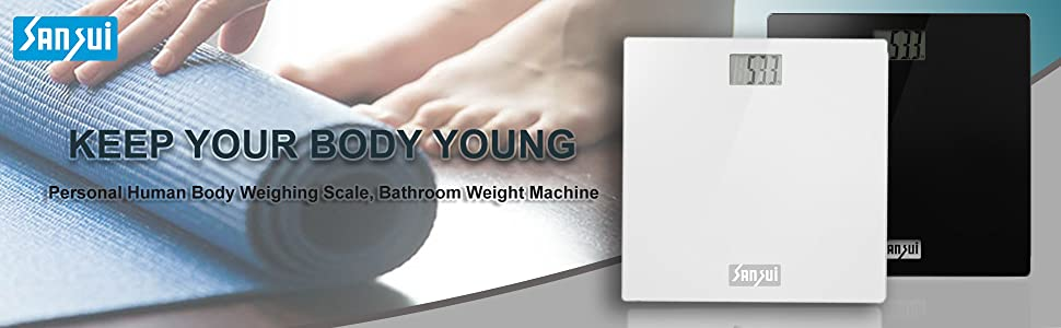 Personal Human Body Weighing Scale, Bathroom Weight Machine(White)