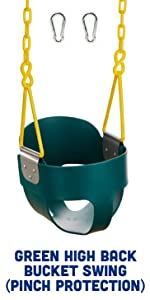 Green High Back Bucket Swing Dipped Triangle