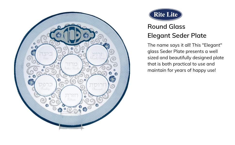 Passover blue glass Seder Plate