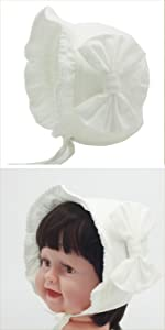 white cotton bonnet winter cap white dress for baptism