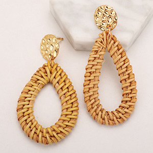 Rattan Earrings Statement Woven Earrings Handmade Straw Wicker Braid Hoop Drop Dangle Earrings