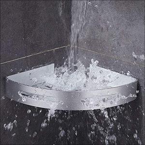 Estanteria Ducha Sin Taladros, RenFox Estantería Baño Esquina Estante Baño Adhesivo Rinconera Ducha Aluminio Estanteria Organizador Pared Para Baño y Cocina, con 4 Ganchos (Triangular, 2 Piezas): Amazon.es: Hogar