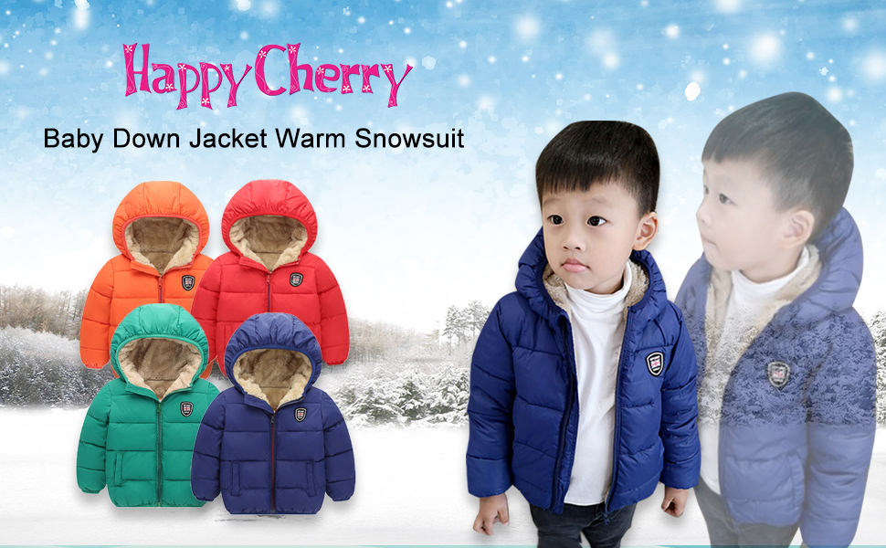 Toddler Baby Boy Hooded Down Jacket Coat Kid Girl Winter Puffer Jackets Outerwear 2-7T