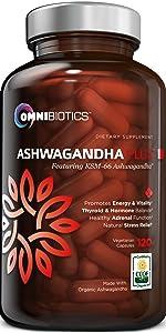 Ashwagandha Certified Organic KSM-66 Natural Stress Relief Thyroid Support Vegan Capsules