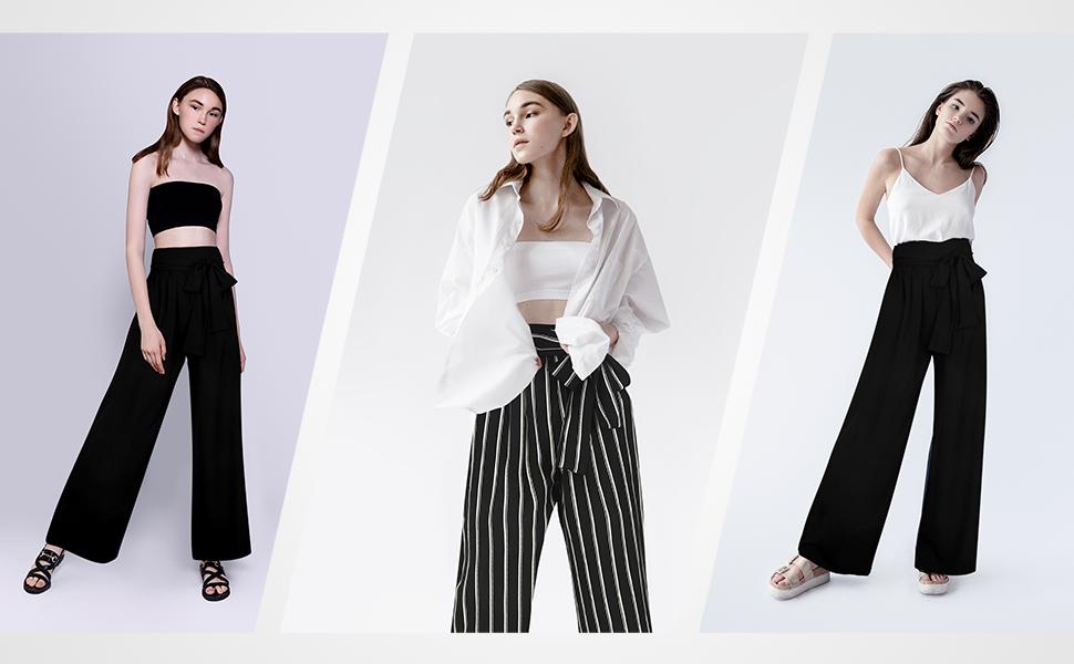 stripe pants women striped wide leg pants paper bag pants striped wide leg beach pants long flowy
