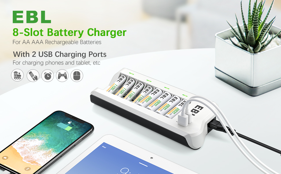 EBL 8 Slot AA AAA Rechargeable Battery Charger with 2 USB Fast Charging Ports