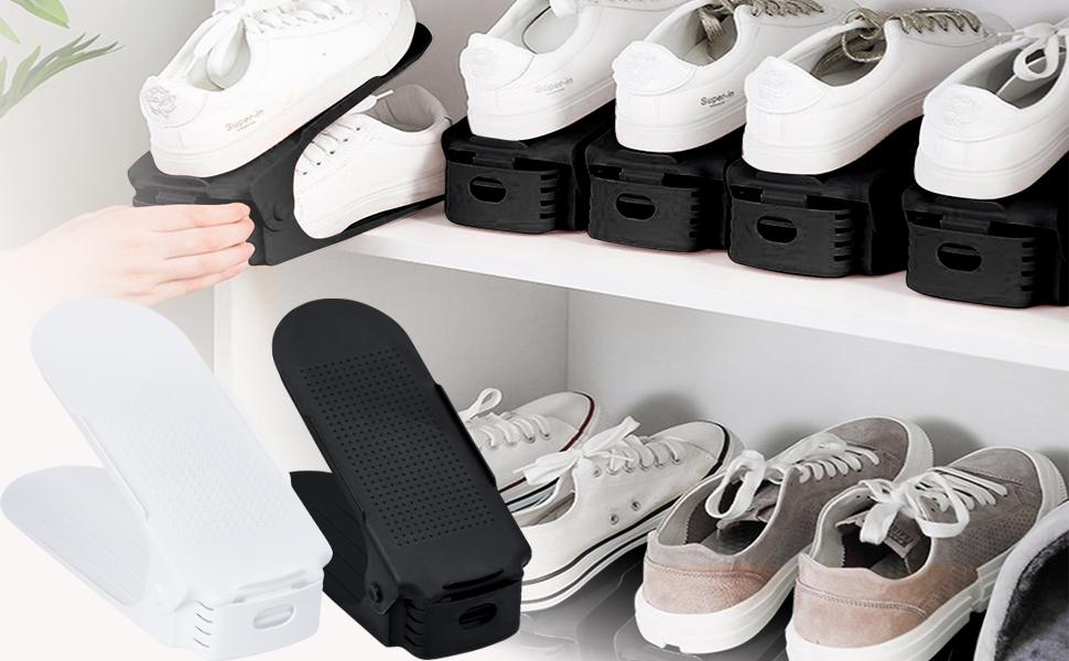 HENGMEI 30er Set Verstellbarer Schuhregal Set Schuhstapler Schuhhalter Schuhorganizer 3 h/öhenverstellbar rutschfest Schwarz