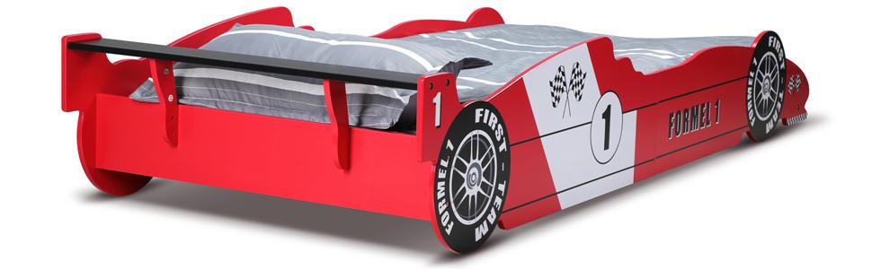 Deuba Cama infantil fórmula uno de Madera 90x200cm con somier auto color Rojo para niños borde de protección moderno