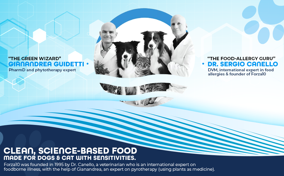 Owners in Forza logo clean and science-based food made for dogs and cats with sensitivities