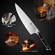 German High Carbon Stainless Steel Knife with Ergonomic Handle