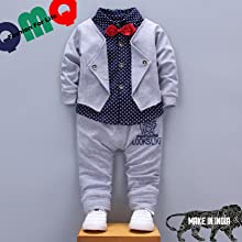 QMQ's Boy's Cotton Blazer Navy Shirt and Pant Suit Set in Grey