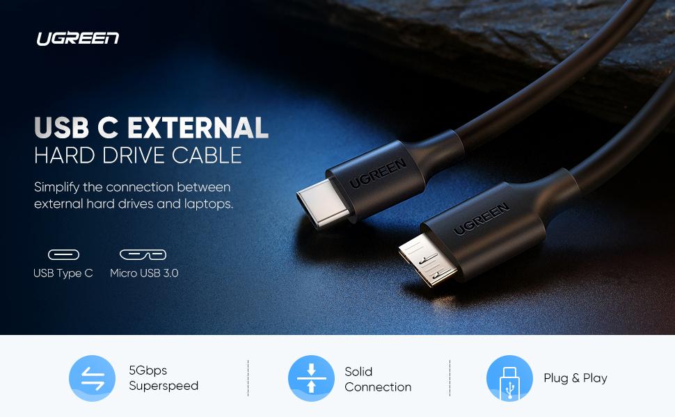 USB-C to USB 3.0 Micro B Cable