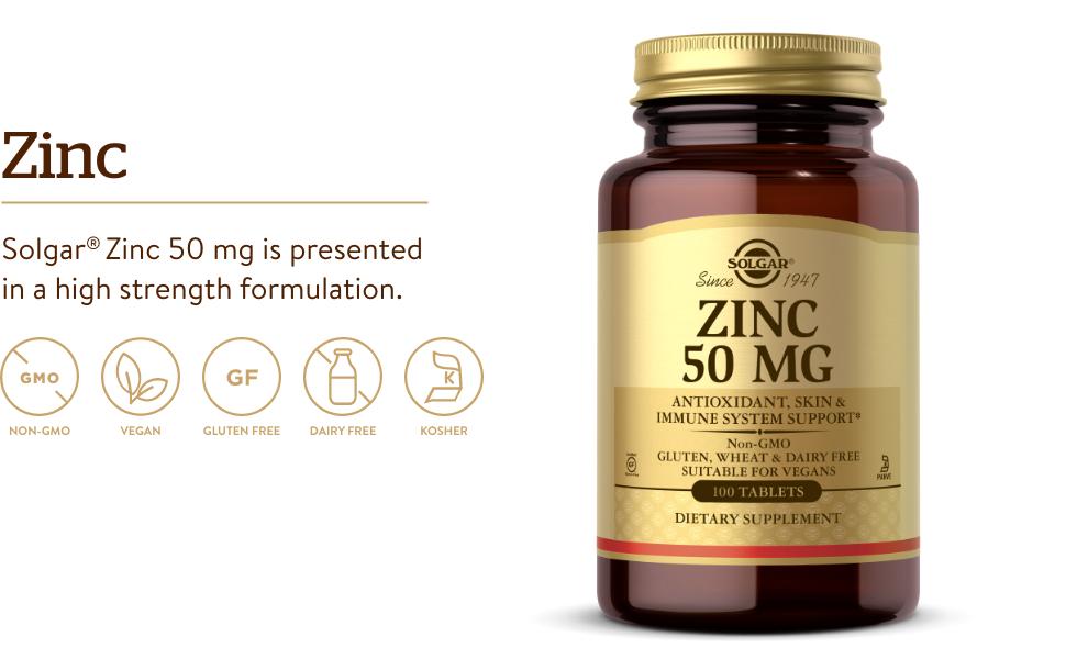 Zinc for Healthy Skin, Taste & Vision - Immune System & Antioxidant Support