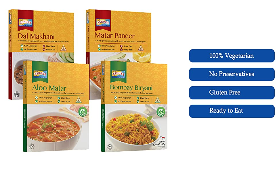 Indian ready to eat meals, vegetarian meals, microwavable meals, indian cuisine