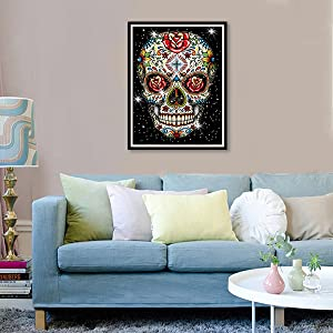 5D DIY Diamond Painting by Number Kits for Adults Skeleton of Love Diymood Painting Paint with Diamonds Arts Full Drill for Living Room Decor 30x40cm