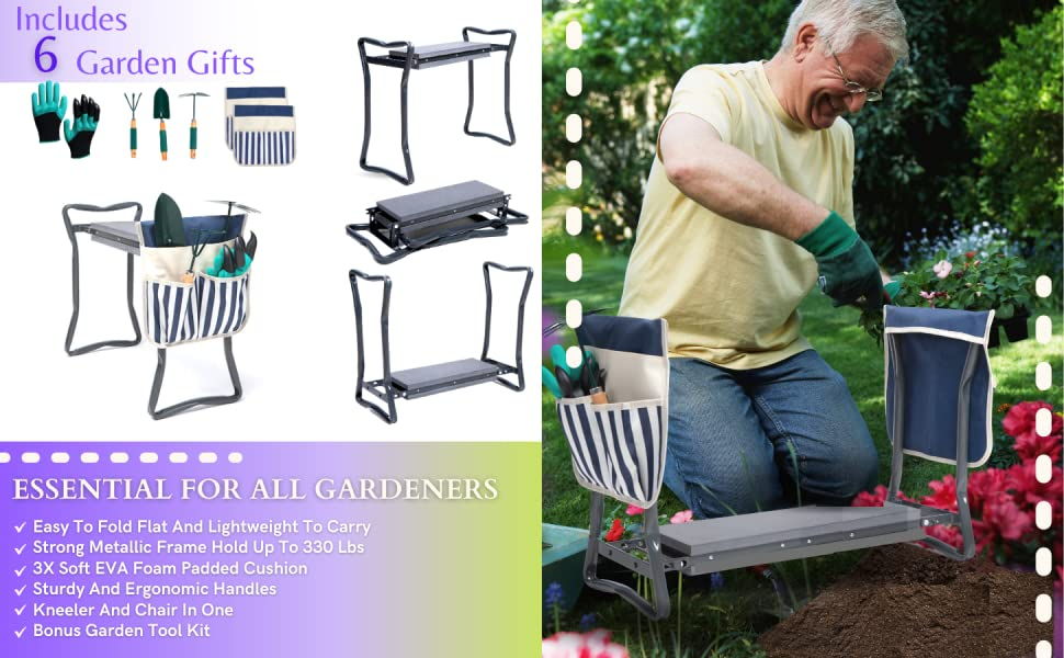 kneeling bench portable stool chair pad gardening gifts kit gardening tool set gardening tool set