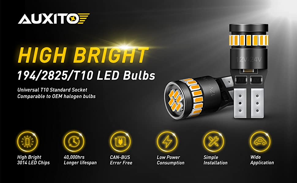 2X AUXITO T10 168 2825 194 LED License Plate Light Bulb 6000K Bright AMBER 24H A