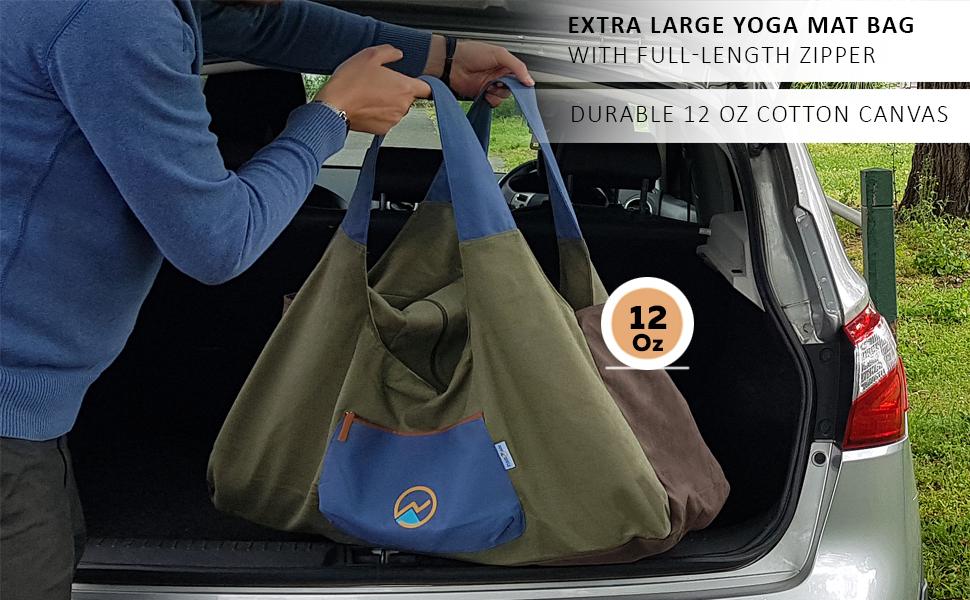 12 oz canvas extra large yoga mat bag khaki for men
