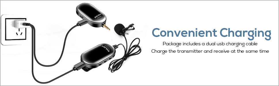 The wireless transmitter & receiver can be charged simultaneously.