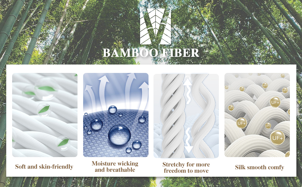 Cool and moisture wicking bamboo fabric like the second skin, lightweight and breathable