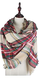 Christmas Red and Green Plaid Blanket Scarf