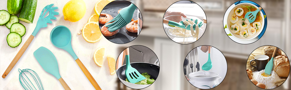 Teal Silicon Whisk, Basting Brush, Slotted Spoon, Slotted Turner, Pasta Server, Spatula, Soup Ladle