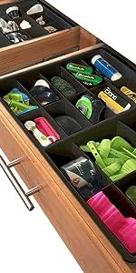 Adjustable black drawer dividers