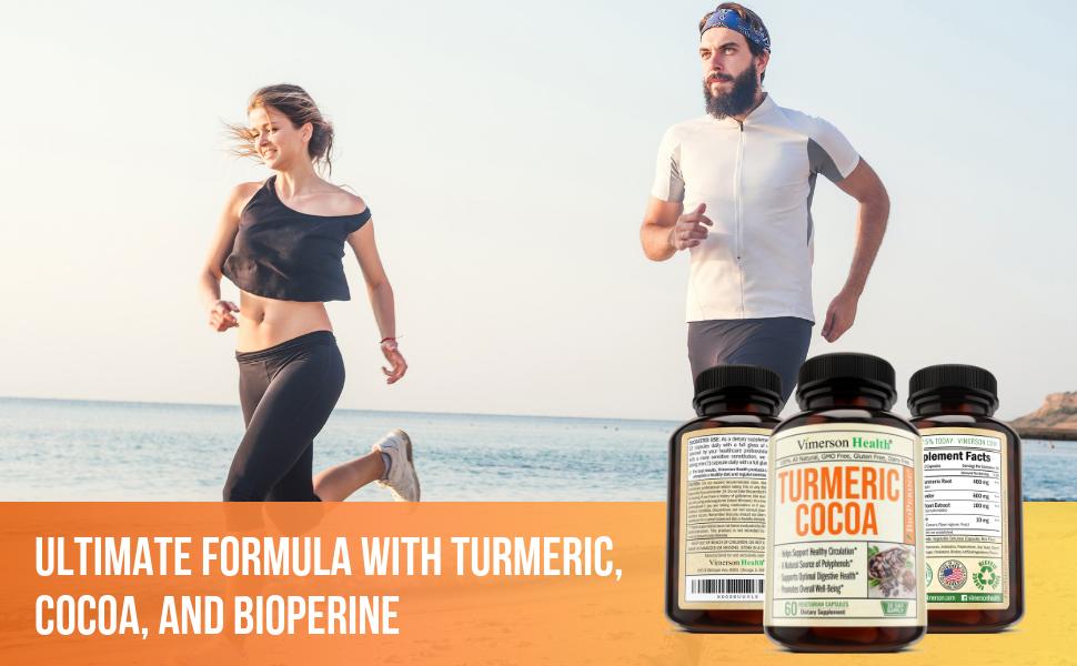Turmeric Cocoa Powder Bioperine Man Woman Jogging Vimerson Health