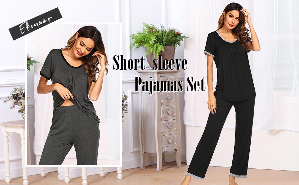 Pajamas Set Women's Sleepwear Short Sleeve Pj Two-Piece Tops Long pants Soft and Comfy Loungewear