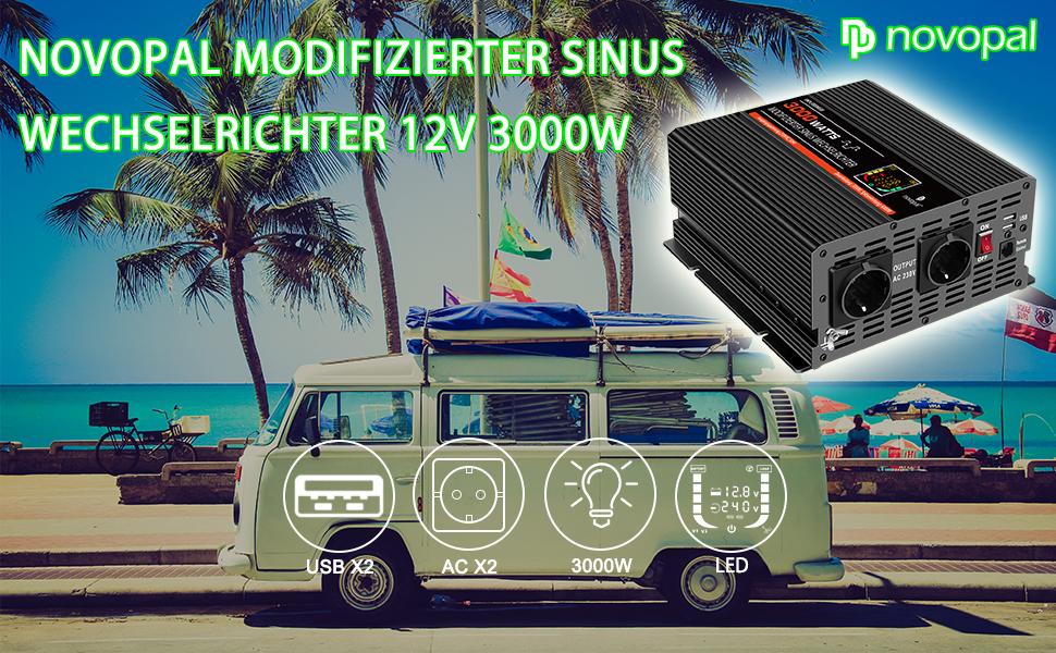 Novopal Spannungswandler 3000w Kfz Wechselrichter 12v Elektronik