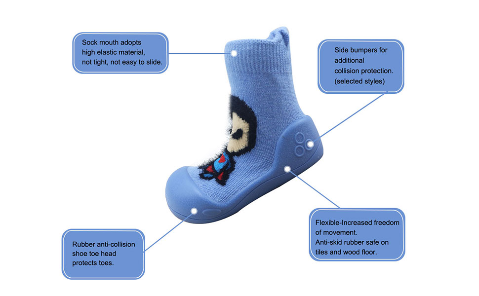 Safty Rubber Anti-collision Toddle Socks Shoes